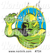 Clipart of a Swamp Creature in a Lagoon for Halloween by Andy Nortnik