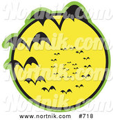 Clipart of Bats and Full Moon by Andy Nortnik