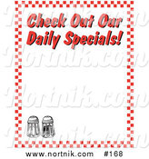 Clipart of Checkered Diner Background Border with Daily Specials Text by Andy Nortnik