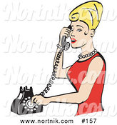 Clipart of Girl on Telephone by Andy Nortnik