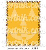 Clipart of Halloween Candy Corn Background with Pumpkin Face by Andy Nortnik