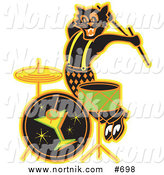 Clipart of Halloween Rockabilly Cat Playing Drums by Andy Nortnik