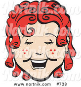 Clipart of Retro Girl Smiling by Andy Nortnik
