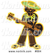 Clipart of Rockabilly Swing Cat Playing Guitar by Andy Nortnik