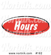 Clipart of Web Button Hours in Retro Style by Andy Nortnik