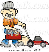 Retro Clip Art of a Handyman Carrying a Toolbox While Pushing a Red Lawn Mower by Andy Nortnik