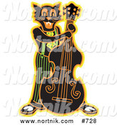Retro Clipart of Rockabilly Cat Bass Player by Andy Nortnik