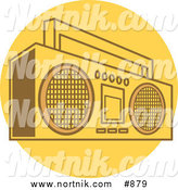 Vector Clip Art of a Retro Boom Box Radio on a Yellow Circle by Andy Nortnik