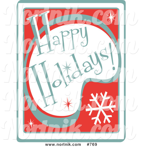 Clip Art of Happy Holidays Sign
