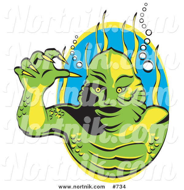 Clipart of a Swamp Creature in a Lagoon for Halloween