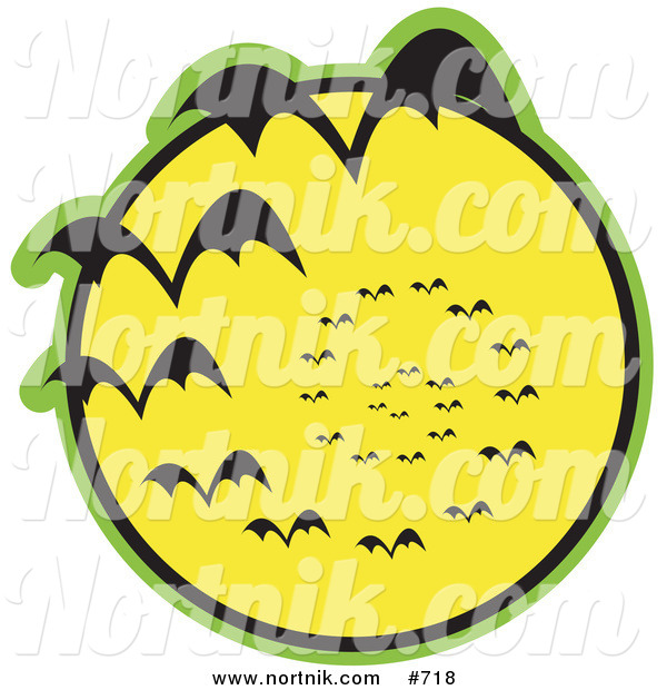 Clipart of Bats and Full Moon