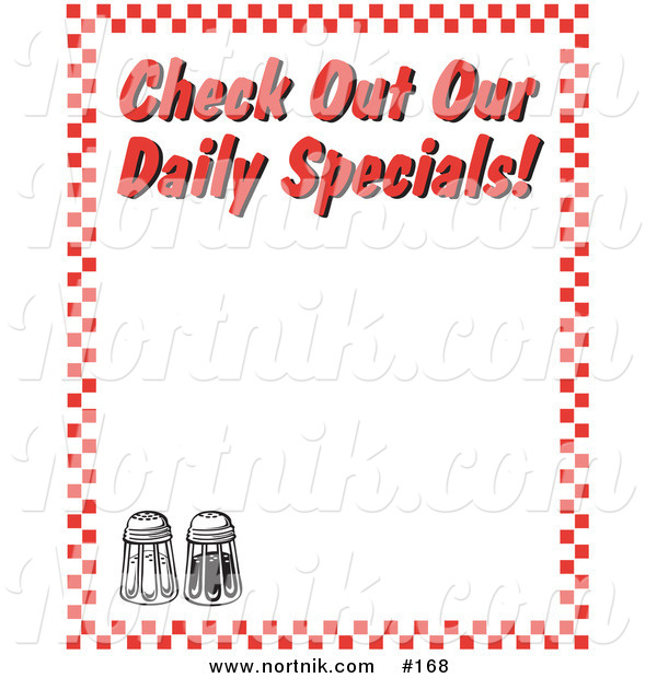 Clipart of Checkered Diner Background Border with Daily Specials Text