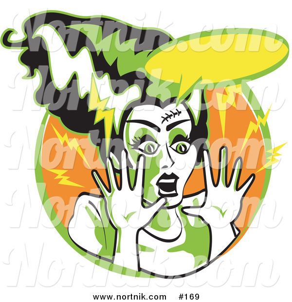 Clipart of Frankenstein's Bride in Cartoon or Pop Art Style