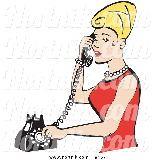 Clipart of Girl on Telephone