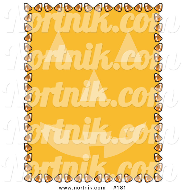 Clipart of Halloween Candy Corn Background with Pumpkin Face
