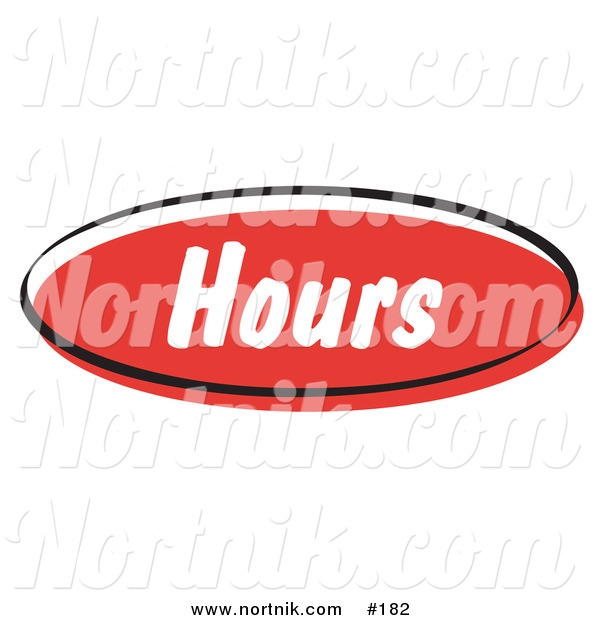 Clipart of Web Button Hours in Retro Style