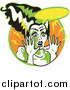 Clipart of Frankenstein's Bride in Cartoon or Pop Art Style by Andy Nortnik
