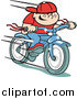 Clipart of Retro Boy Riding Bike by Andy Nortnik